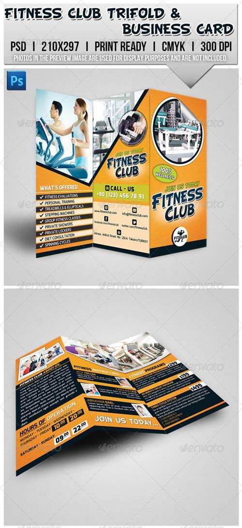 GraphicRiver Fitness Club Trifold Brochure & Business Card