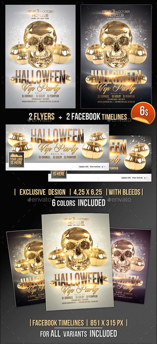 GraphicRiver Halloween Flyer + Fb Timeline Vip Party
