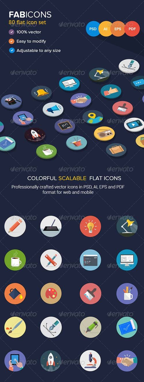 GraphicRiver 80 Fresh Flat Vector Icons