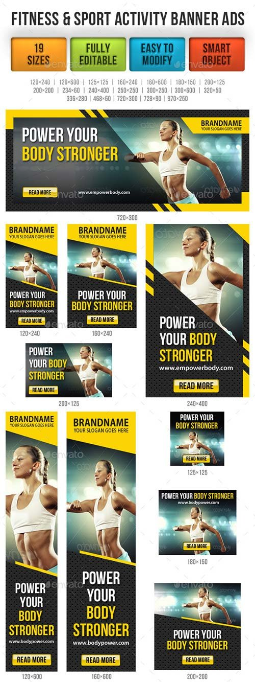 GraphicRiver Fitness & Sport Activity Banner Ads