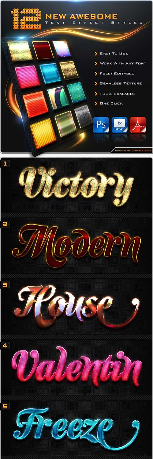 GraphicRiver 12 New Awesome Text Effect Styles