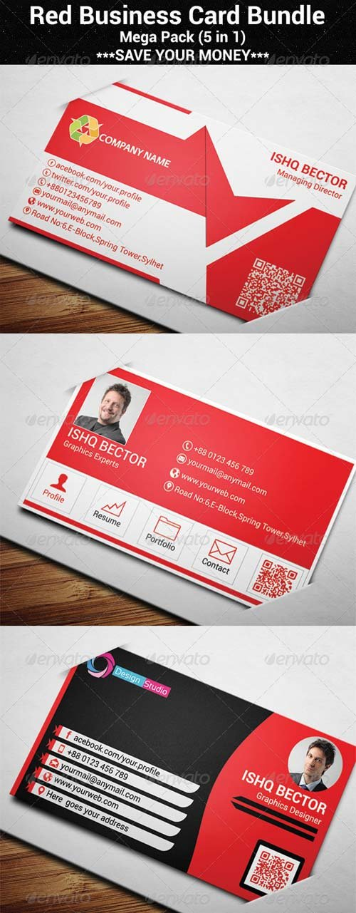 GraphicRiver 5 in 1 Red Business Card Bundle