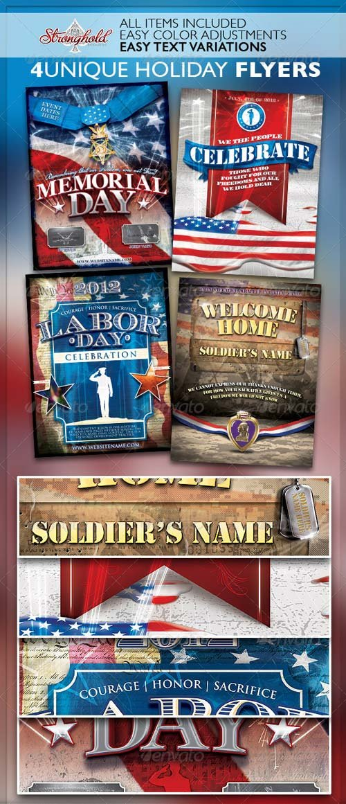 GraphicRiver Vintage Patriotic Military Holiday Flyer Bundle