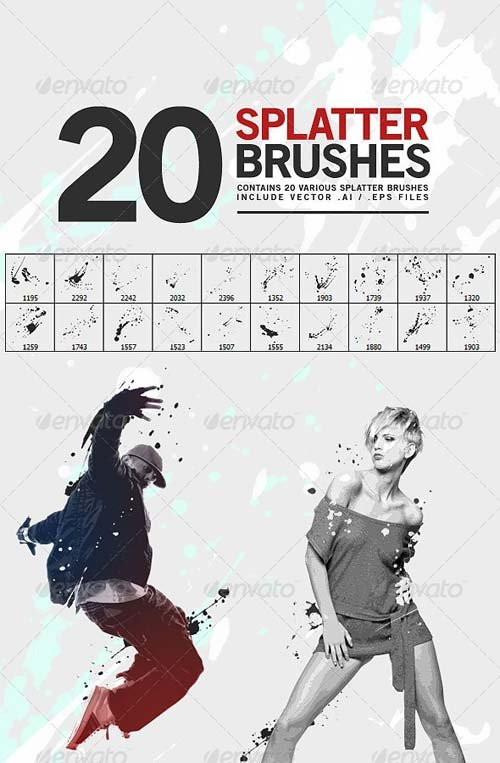 GraphicRiver 20 Splatter Brushes