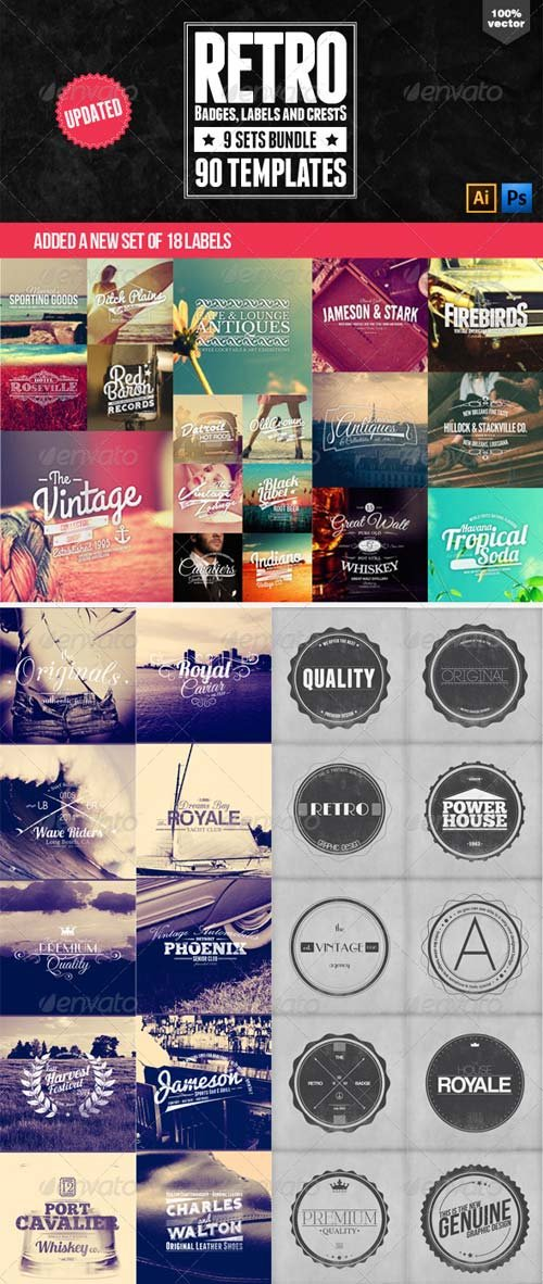 GraphicRiver 90 Retro Badges, Labels and Crests Bundle