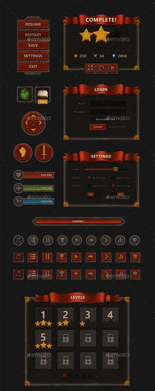 GraphicRiver Fantasy Mobile Game Interface