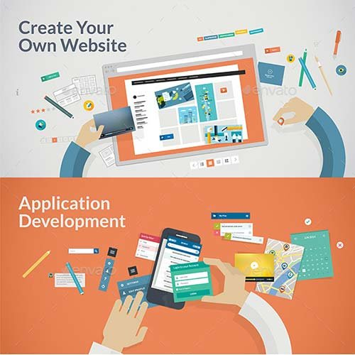 GraphicRiver Flat Design Concepts for Websites and Apps Develop