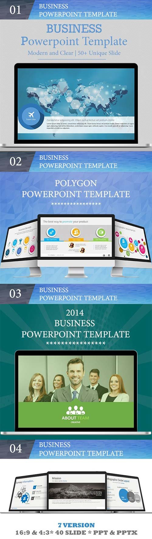 GraphicRiver Bundle 4 in 1 Business PowerPoint Templates