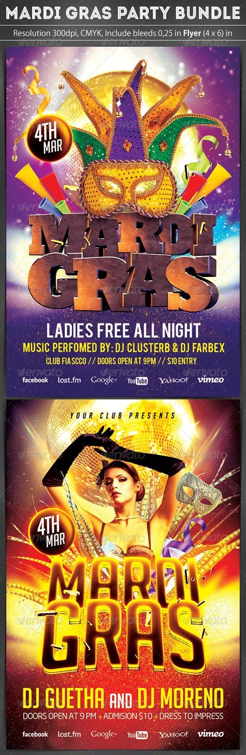 GraphicRiver Mardi Gras Flyer Bundle 2 in 1