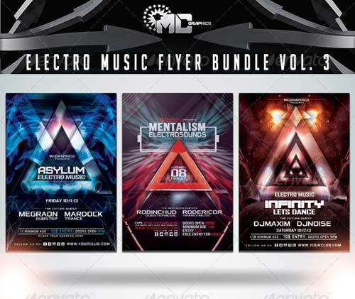 GraphicRiver Electro Music Flyer Bundle Vol. 3