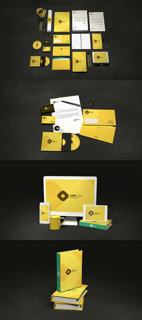 CreativeMarket Branding Identity Stationary Mock up