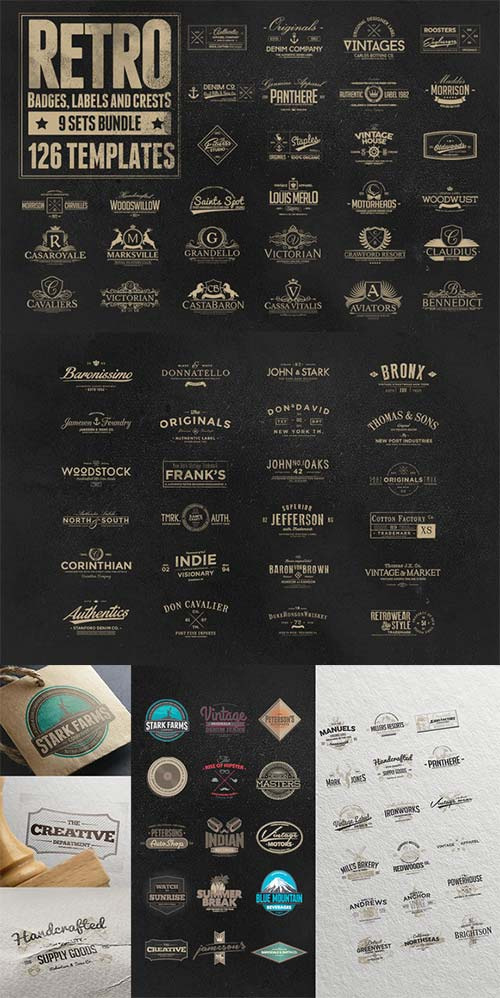 CreativeMarket 126 Retro Badges, Labels & Crests