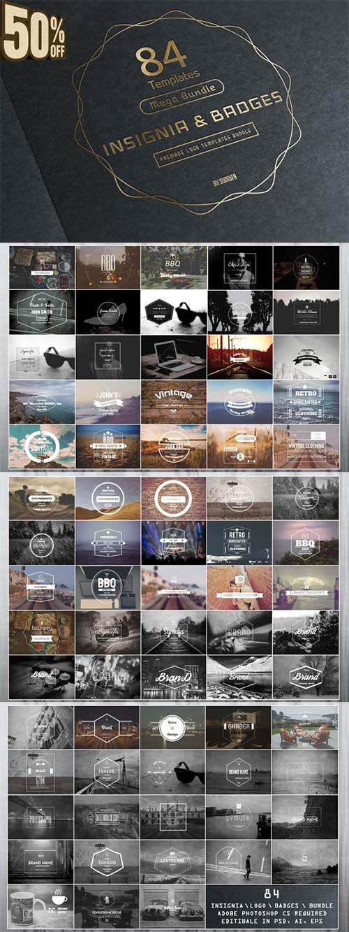 CreativeMarket 84 Vintage Insignia Badges Bundle