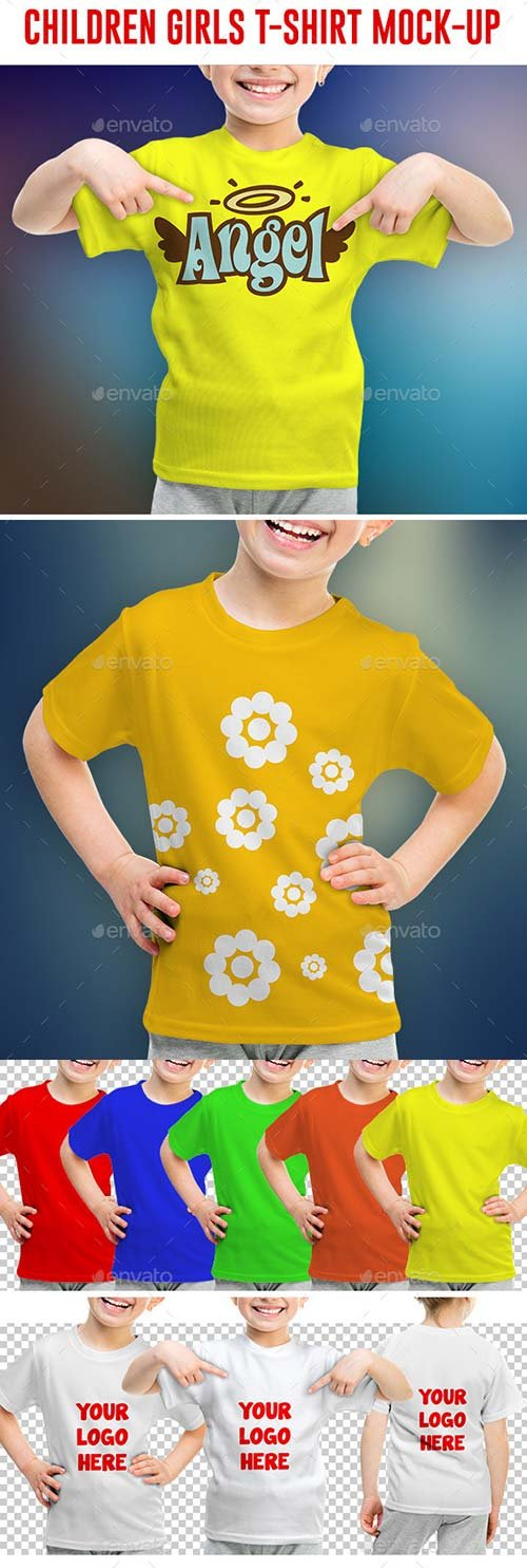 GraphicRiver Children Girls T-shirt Mock-Up