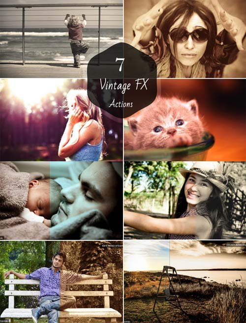 CreativeMarket 7 Vintage FX Photoshop Actions