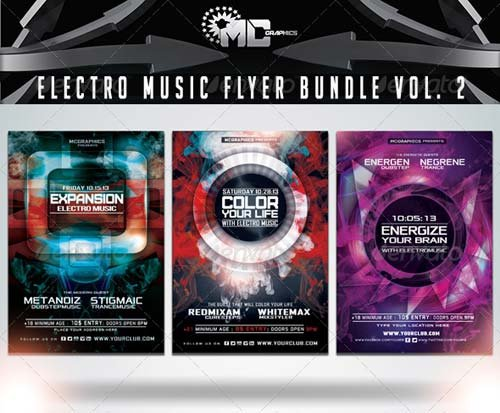 GraphicRiver Electro Music Flyer Bundle Vol. 2