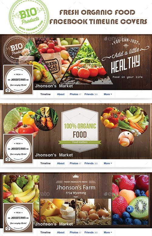 GraphicRiver Organic Food Facebook Covers