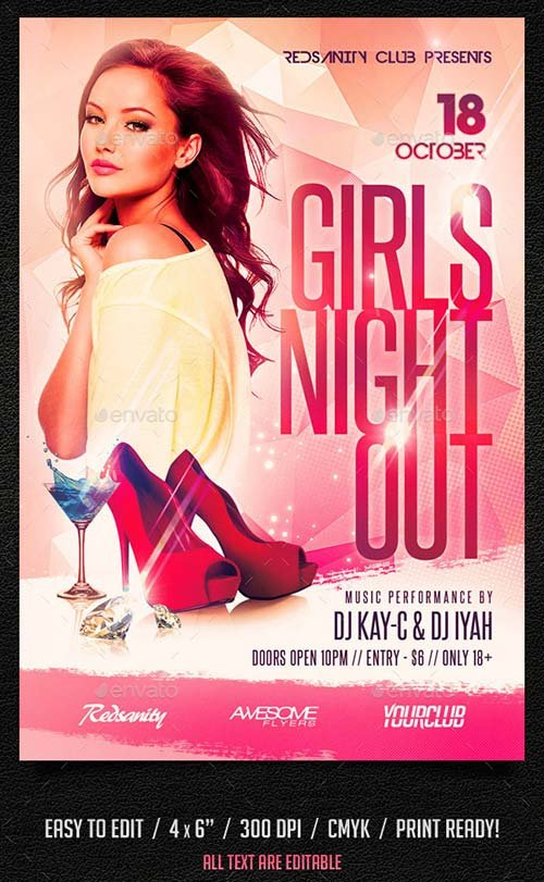 GraphicRiver Girls Night Out Flyer plus FB Cover