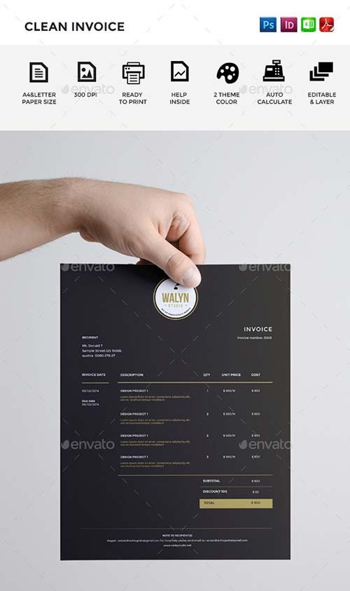 GraphicRiver Clean Invoice 9054399