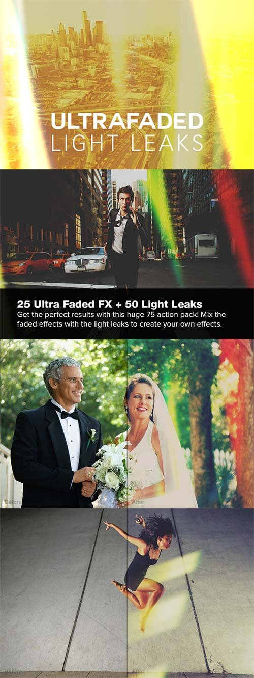 CreativeMarket 75 Ultra Faded Light Leaks Actions