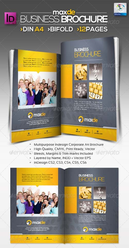 GraphicRiver Maxde Bifold Clean A4 Brochure 12pages