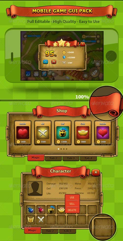 GraphicRiver Fantasy - Mobile Game Gui Pack