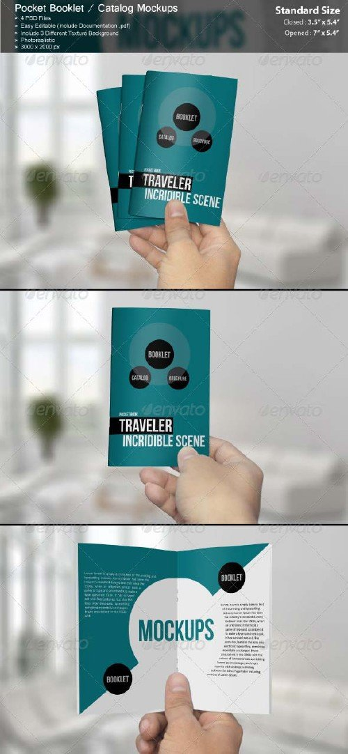 GraphicRiver Pocket Booklet / Catalog Mockups