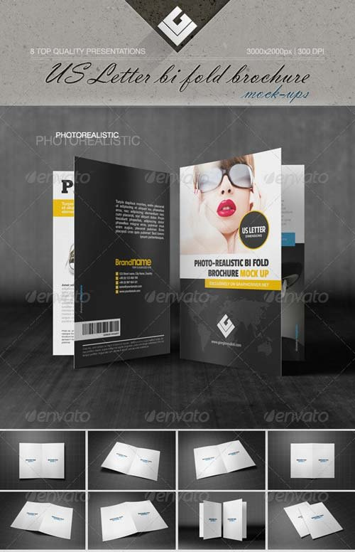 GraphicRiver US Letter Bi-Fold Brochure Mock-Up