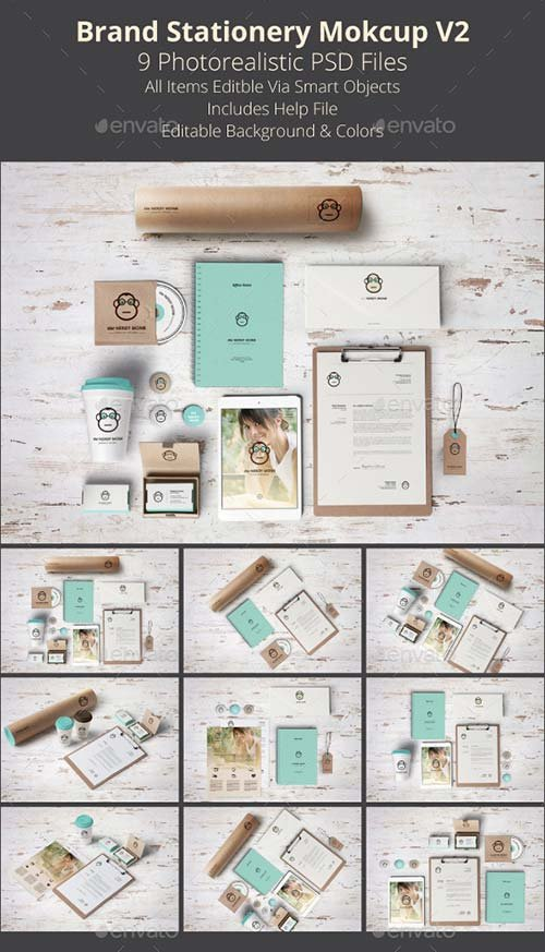 GraphicRiver Brand Stationery Mockup V2