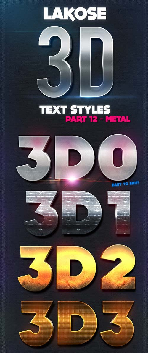 GraphicRiver Lakose 3D Text Styles Part 12