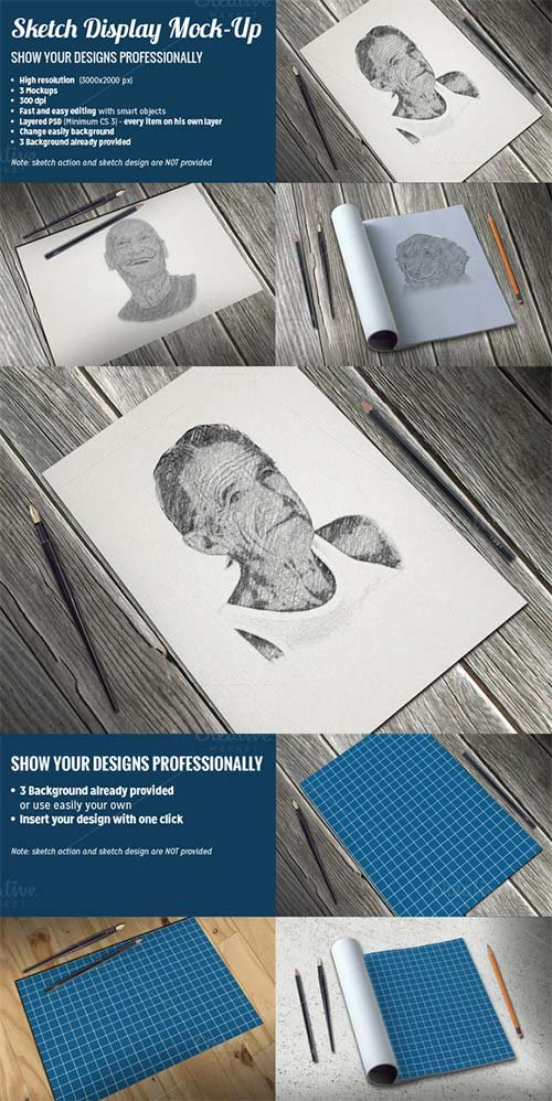 CreativeMarket Sketch Display Mock-Up
