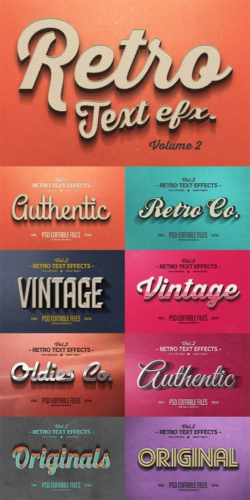 CreativeMarket Vintage Text Effects Vol.2