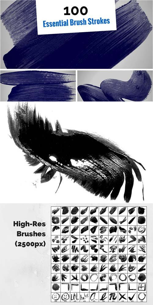 CreativeMarket 100 Essential Brush Strokes
