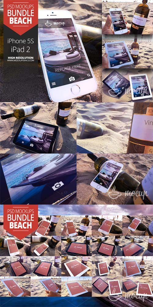 CreativeMarket 20 PSD Mockups Set Beach
