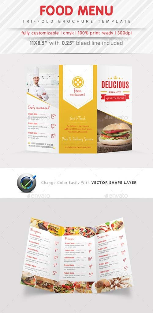 GraphicRiver Food Menu Tri Fold Brochure