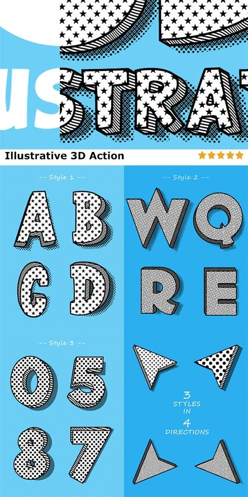 CreativeMarket ILLUSTRATIVE 3D STYLES ACTION