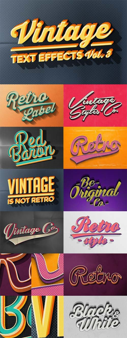 CreativeMarket Vintage Text Effects Vol.3