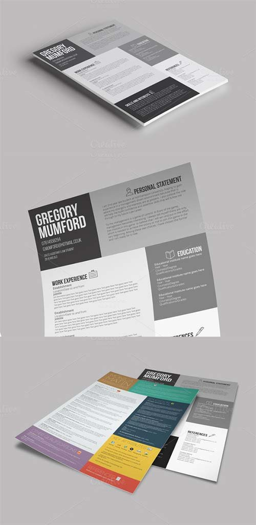 CreativeMarket 6 Shades CV/Resume