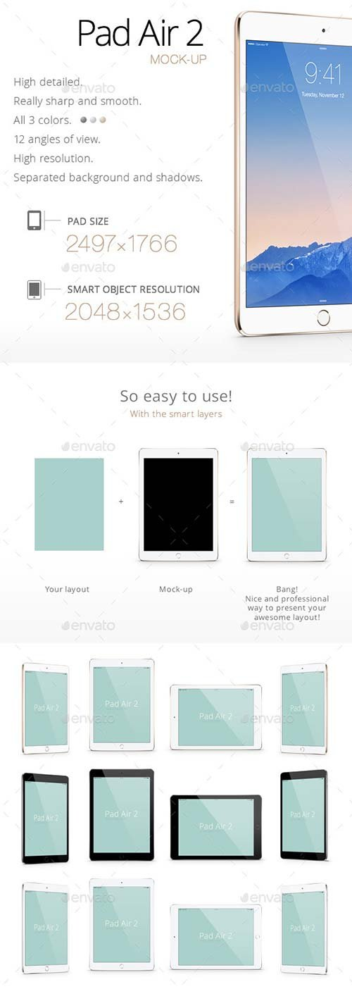 GraphicRiver Pad Air 2 Mock-up