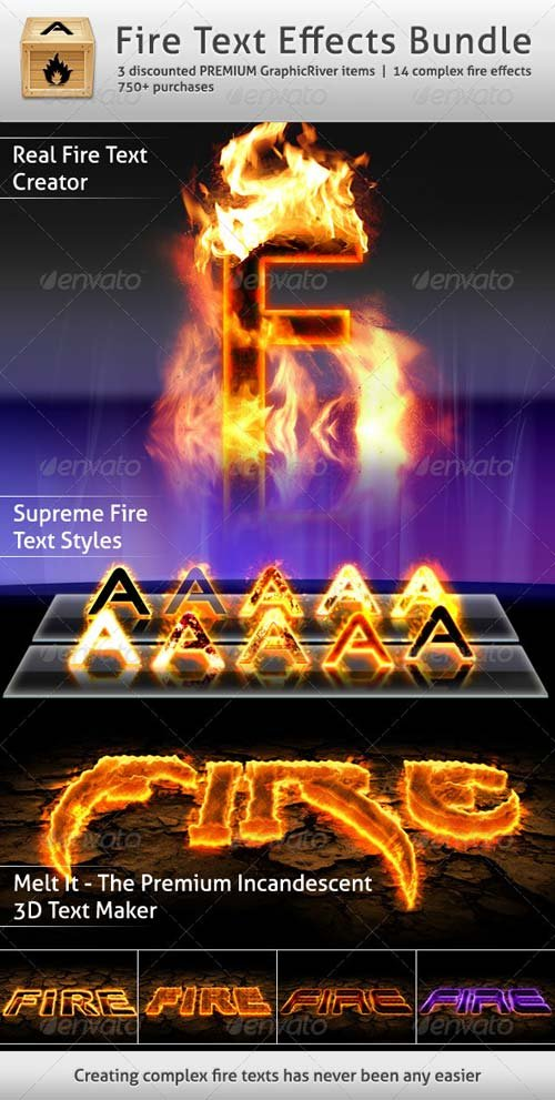 GraphicRiver Fire Text Effects Bundle