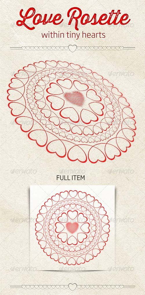 GraphicRiver Love Rosette Within Tiny Hearts