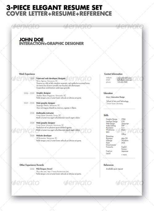 GraphicRiver 3-piece Elegant Resume set
