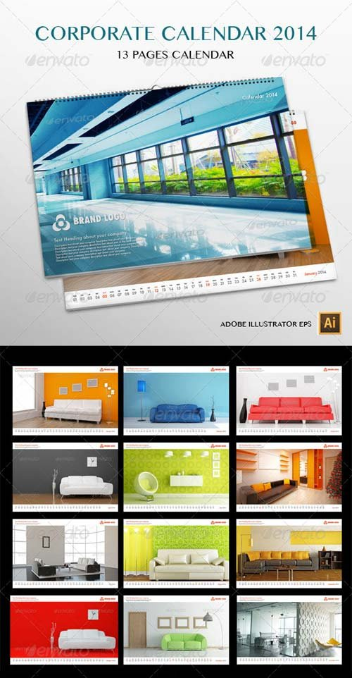 GraphicRiver Corporate Wall Calendar 2014