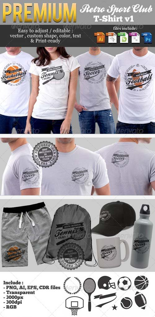 GraphicRiver Retro Sport Club T-Shirt Template v1