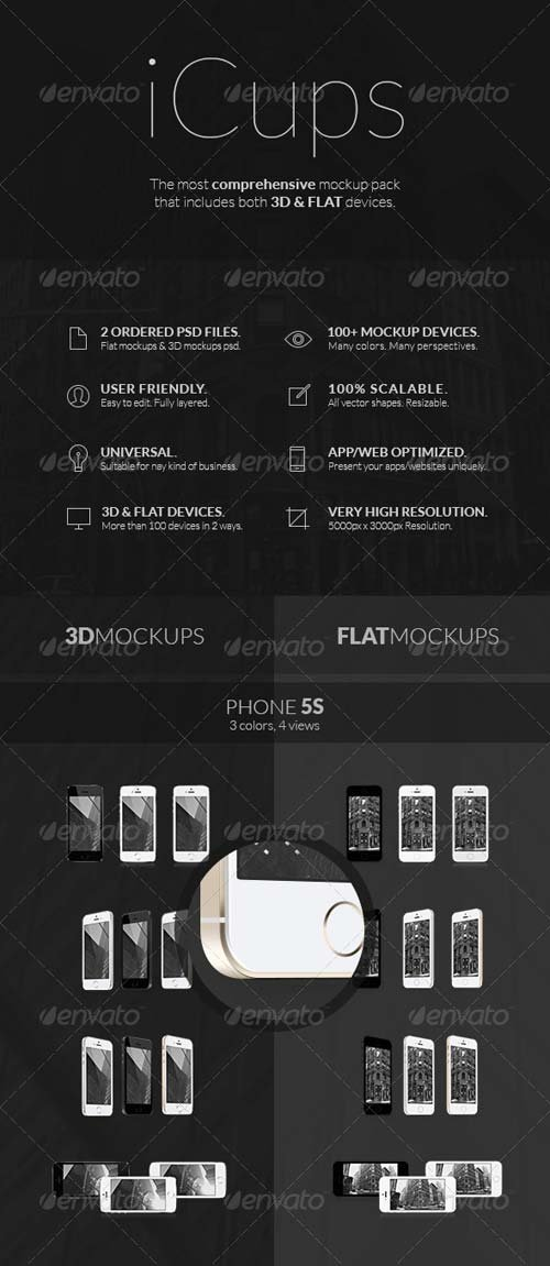 GraphicRiver iCups - 100 3D & Flat Responsive Screen Mockups