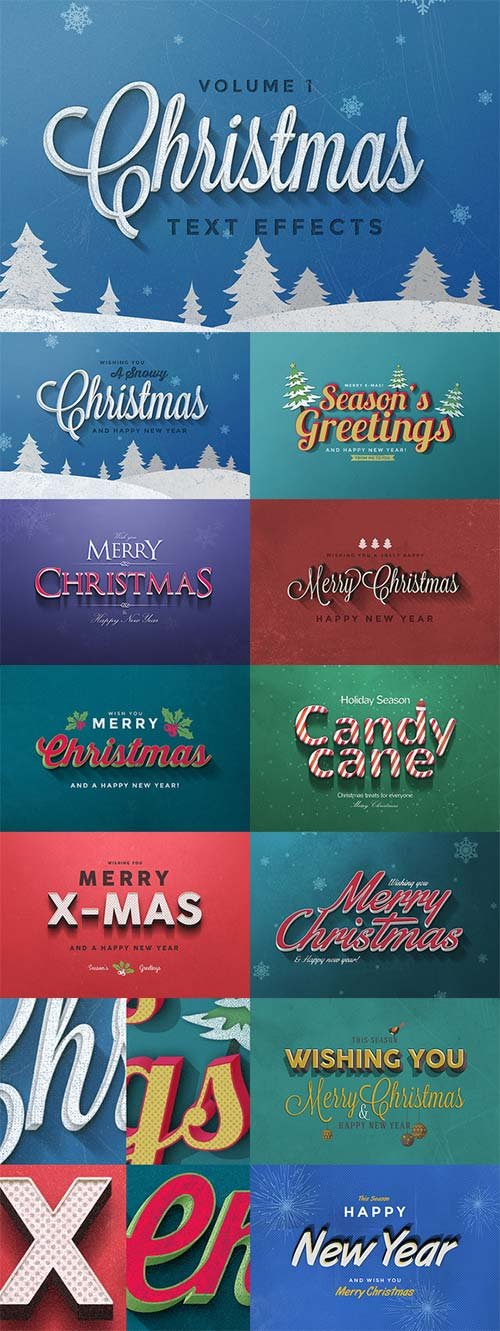 CreativeMarket Christmas Text Effects Vol.1