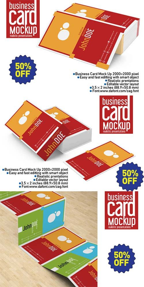 CreativeMarket Business Card Mock Up