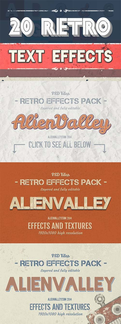 CreativeMarket 20 Retro Text Effects + 15 Textures