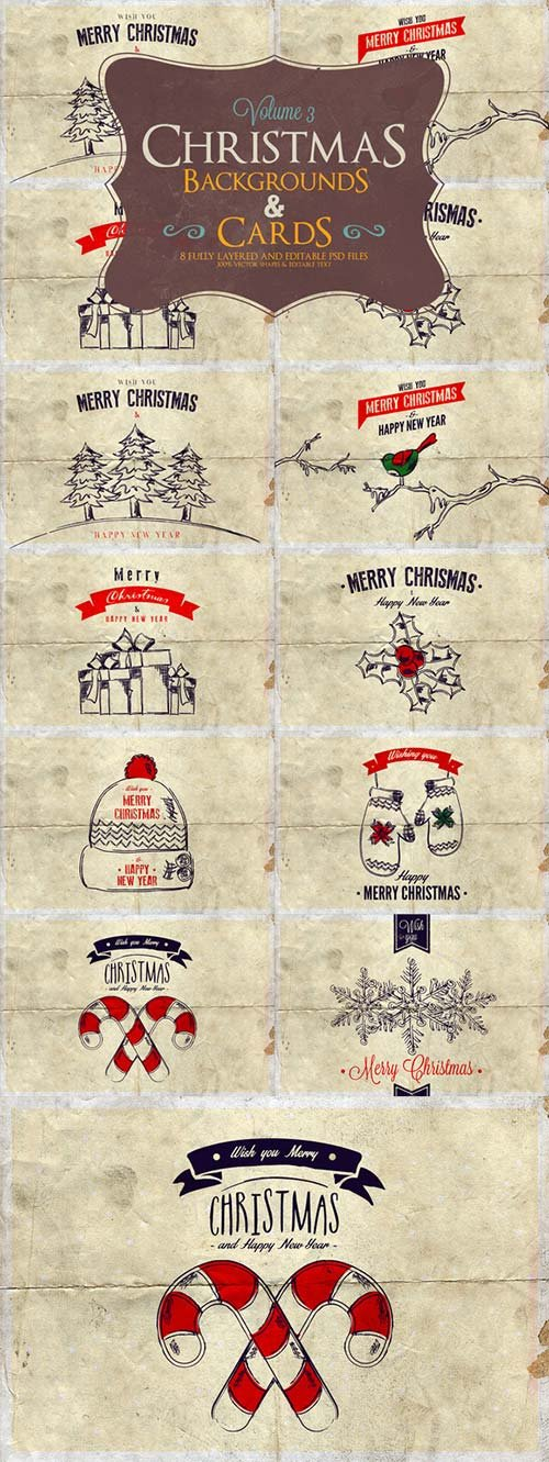 CreativeMarket Christmas Background & Cards Vol.3