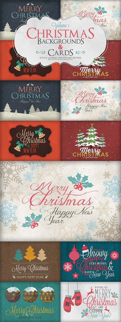 CreativeMarket Christmas Background & Cards Vol.1